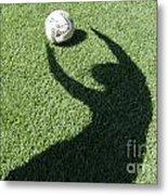 Shadow Playing Football Metal Print