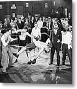 Silent Film Still: Boxing Metal Print