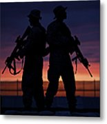 Silhouette Of U.s Marines On A Bunker Metal Print