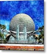 Spaceship Earth And Fountain Of Nations Metal Print
