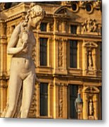 Statue Below Musee Du Louvre Metal Print