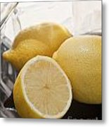 Still Life Of Bottles  And Lemons Metal Print