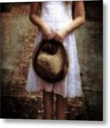 Straw Hat Metal Print