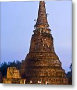 Stupa Chedi Of A Wat In Ayutthaya Thailand Metal Print