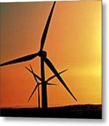 Sun Glare Upon Alberta Windfarm Metal Print
