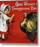 Thanksgiving Card, 1900 Metal Print