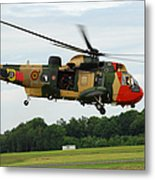 The Sea King Helicopter Of The Belgian Metal Print