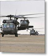 Uh-60 Black Hawks Taxis Metal Print