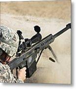 U.s. Army Soldier Fires A Barrett M82a1 Metal Print