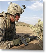 U.s Army Specialist Provides Security Metal Print