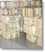 Us Bills In Bundles Metal Print by Adam Crowley