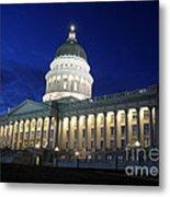 Utah Capitol Building At Twilight Metal Print