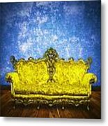 Victorian Sofa In Retro Room Metal Print