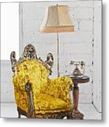 Victorian Sofa In White Room Metal Print