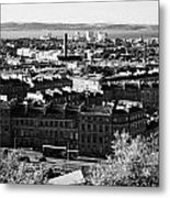 View Of Edinburgh New Town Skyline Towards The Docks At Leith And Firth Of Forth From Calton Hill Ed Metal Print