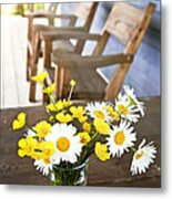Wildflowers Bouquet At Cottage Metal Print