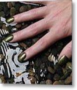 Woman Hand In Water Metal Print