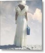 Woman With Suitcase Metal Print