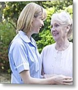 Nurse On A Home Visit Metal Print