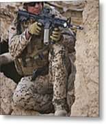 A German Army Soldier Armed With A M4 Metal Print