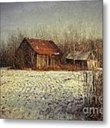 Abandoned Barn With Snow Falling Metal Print by Sandra Cunningham