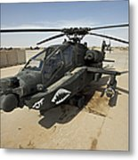 An Ah-64d Apache Helicopter At Cob Metal Print