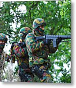 Belgian Paratroopers Proceeding Metal Print