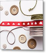 Close Up Of Ribbon, String And Buttons Metal Print