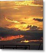 Destroyed  Pier Sea Sunset Metal Print