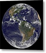 Full Earth Showing North America Metal Print by Stocktrek Images