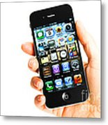 Hand Holding An Iphone Metal Print by Photo Researchers