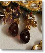 3 Hanging Semi-precious Stones Attached To A Green And Gold Necklace Metal Print