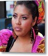 Hispanic Columbus Day Parade Nyc 11 9 11 Female Marcher Metal Print