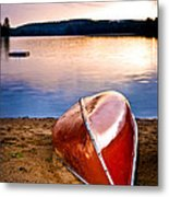 Lake Sunset With Canoe On Beach Metal Print
