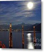 Moon Light Over An Alpine Lake Metal Print
