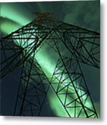 Powerlines And Aurora Borealis Metal Print