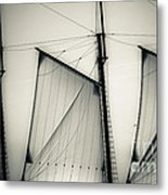 3 Sails In Monotone Of An Old Sailboat Metal Print