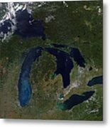 Satellite View Of The Great Lakes Metal Print by Stocktrek Images