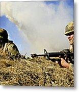 Seabees Defend Their Camp Metal Print