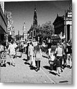 Shoppers And Tourists On Princes Street Edinburgh Scotland Uk United Kingdom Metal Print