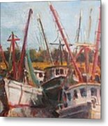3 Shrimpers At Dock Metal Print