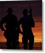 Silhouette Of U.s Marines On A Bunker Metal Print