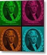 Thomas Jefferson In Quad Colors Metal Print