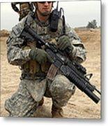 U.s. Army Sergeant Provides Security Metal Print
