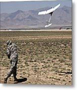 U.s. Army Soldier Launches An Rq-11 Metal Print