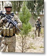 U.s. Army Soldier Stands Guard Metal Print