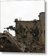 U.s. Army Soldiers Provide Security Metal Print