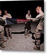 U.s. Marines Fold The American Flag Metal Print