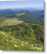 View From Puy De Dome Onto The Volcanic Landscape Of The Chaine Des Puys. Auvergne. France Metal Print