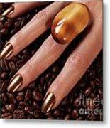 Woman Hands In Coffee Beans Metal Print
